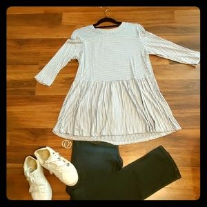 Cream and Blue Striped Baby Doll Top